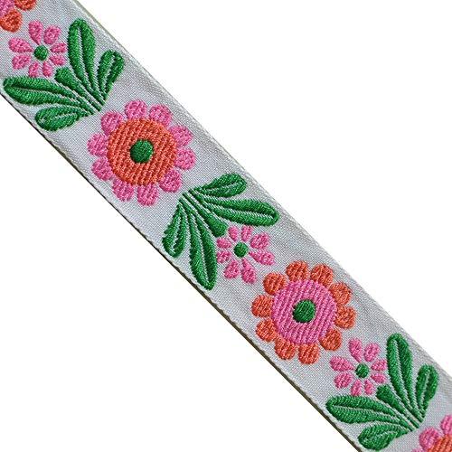 JR 659 Jacquard Embroidered Sunflower Pink Coral Ribbon Trim 1