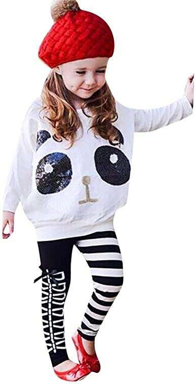 3-7 Anni Completino Bambino Ragazza E Ragazzi 2 Pezzi Tute in Cotone Maglietta Panda Stampe Pantaloni Set Caldo Manica Lunga Leggera Antivento Mbby Tuta Bambina Animali
