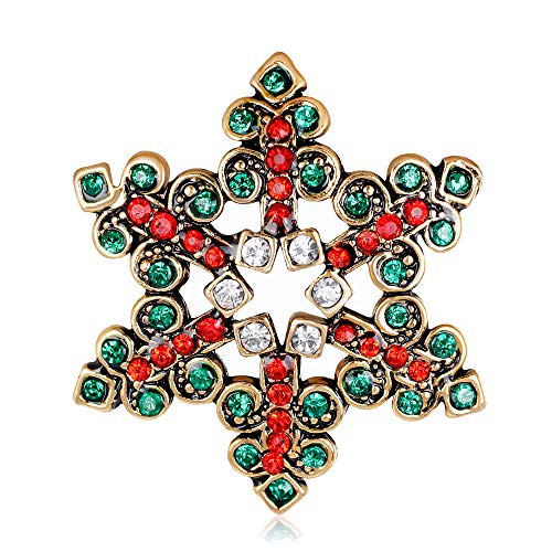 (Gyn&Joy Vintage Style Holiday Christmas Red Emerald Color Crystal Rhinestone Snowflake Brooch Pin BZ206)