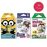 Fujifilm Instax Minion Instant Film Standard Version & Fujifilm Instax Mini Airmail Film (10 Exposures) + Fujifilm Instax Mini Twin Pack Instant Film (20 Exposures) – Deluxe 40 Exposures Film Bundle