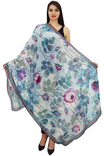 Phagun Blue Scarf Wrap Floral Long Sarong Women Summer Shawl Scarves-Cotton Voile