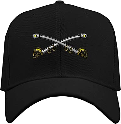 Custom Baseball Hat Cavalry Crossed Sabers CavBrass Embroidery Veteran Acrylic