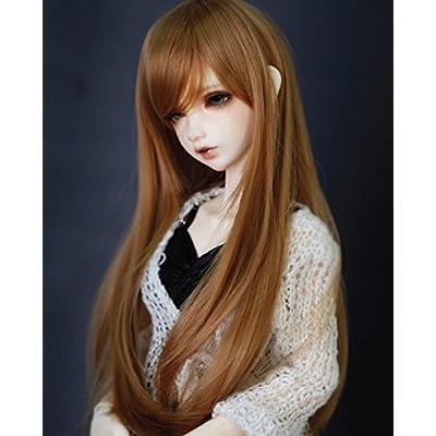 Kuafu 9-10 Inch (22-24cm) 1/3 BJD/SD Doll Wig High Quality Cute Long Straight Soft Wigs Hair Brown