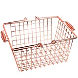 Moonse Rose Gold Metal Wire Basket, Wire Copper Food Storage Tray With Comfortable Handles For Kitchen Party Pantry Fruits Organizer, Medium Size
