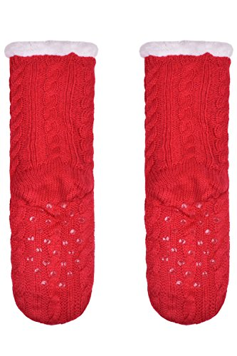 Womens Warm Soft Plush Lining Slipper Socks Knit Winter Fuzzy House Shoes Socks Red NBYQY8jD5