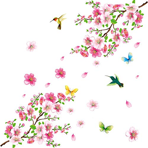 Bird Wall Art Tile - Amaonm Creative Removable DIY Pink Peach blossom Wall Stickers Flowers and Tree Branch Wall Decals Birds Wall art Decor for Kids Rooms Bedroom Girls Nursery Living Room Playroom Office Wall Decoration