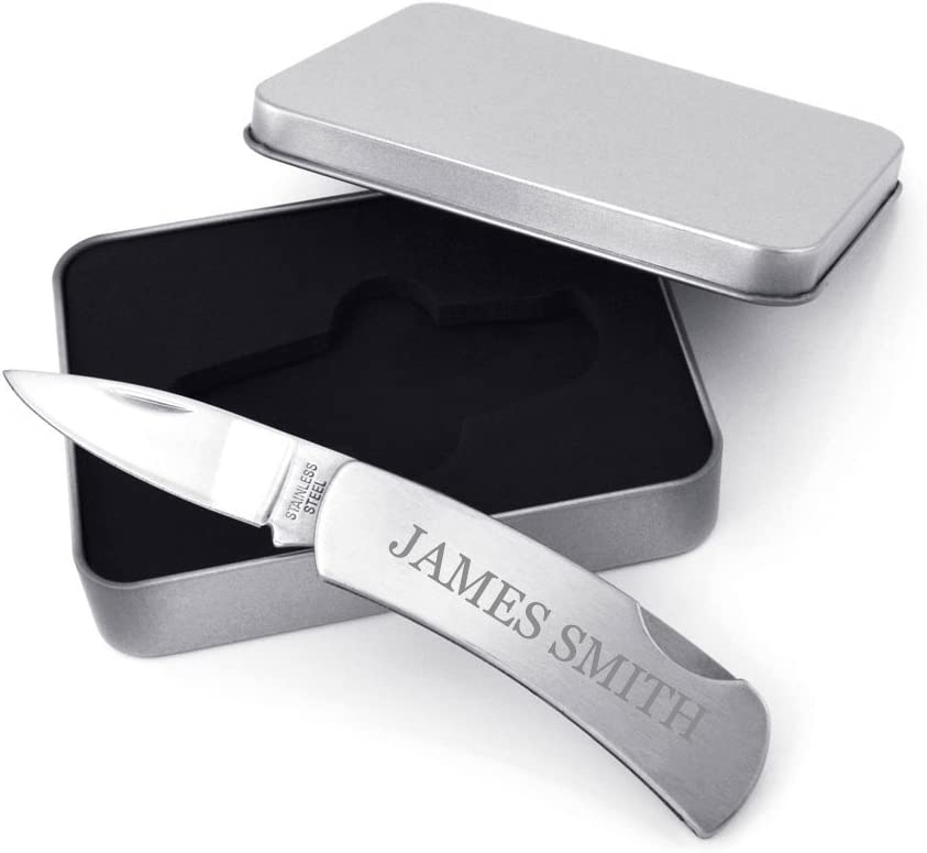 GIFTS INFINITY Personalized Stainless Steel Lock-Back Knife Set