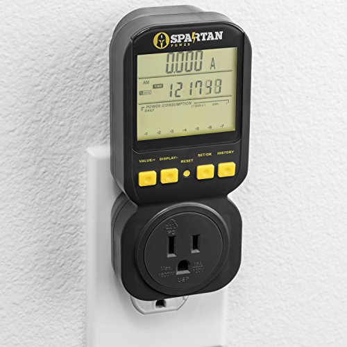 (Electricity Usage Monitor by Spartan Power Energy Watt Meter with 15A Outlet, 1800 Watt Maximum SP-PM120)