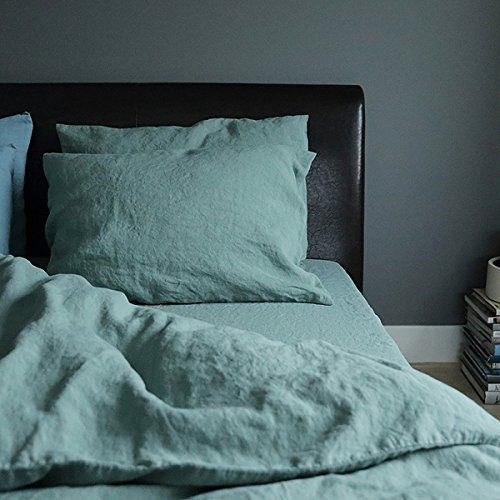 LinenMe Stone Washed Bed Linen Pillow Case, Spa Green by LinenMe (Image #1)