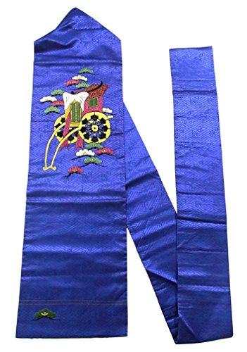 科学要件世界アンティーク 名古屋帯  ヘタウマ刺繍 御所車に松の意匠 人絹