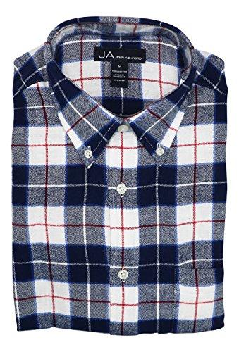 John Ashford Mens Royce Flannel Plaid Button-Down Shirt Blue