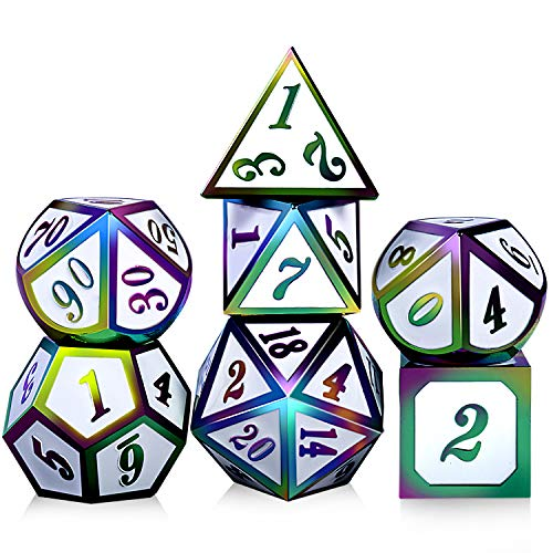 (Shiny Metal DND Dice,DNDND 7PCS Metallic White Colorful Gaming Dice Set with Free Metal Tin for Dungeons and Dragons Roll Playing Game)