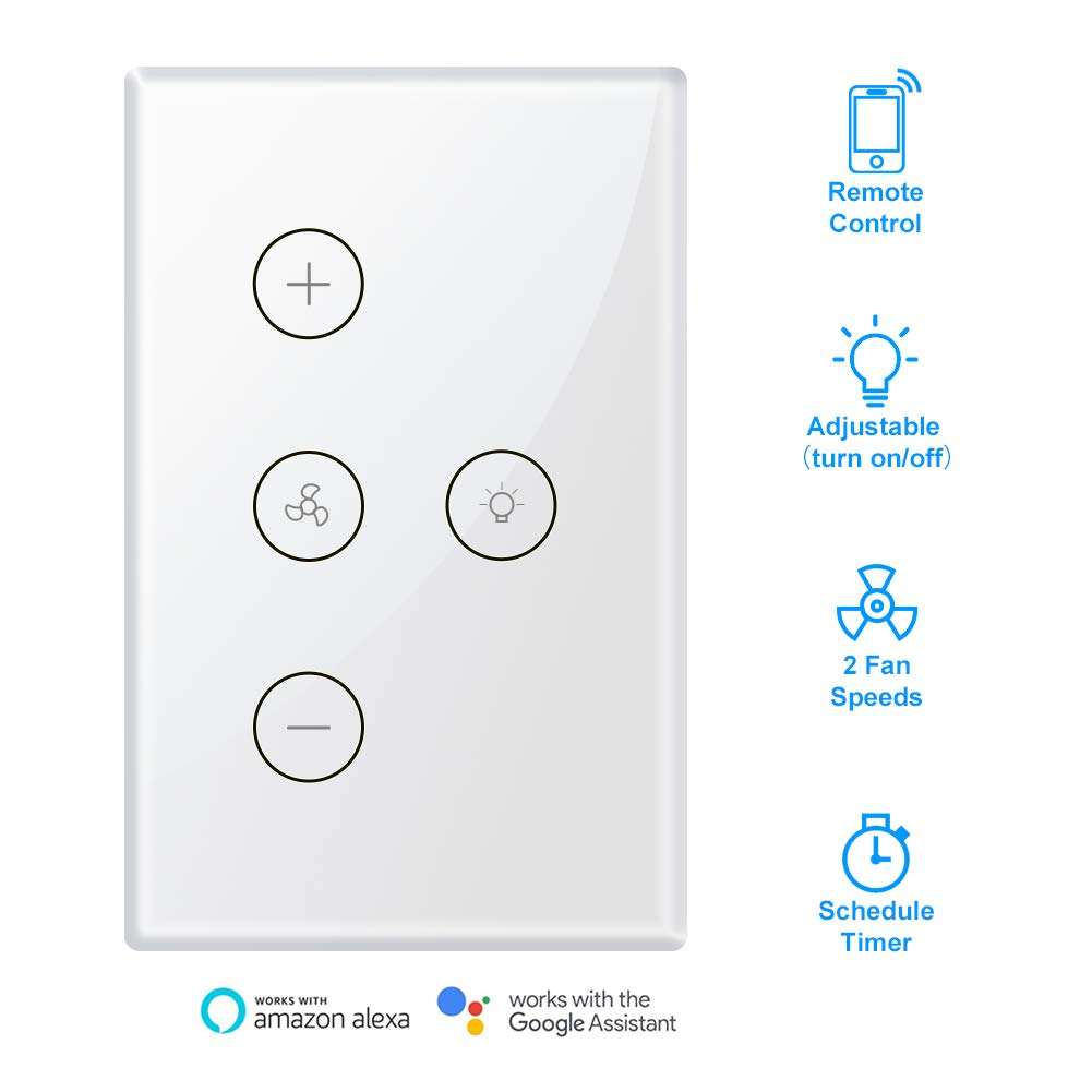 Smart WiFi Fan Light Switch, In-Wall Ceiling Fan Lamp Switch Compatible with Alexa Echo, Google Home [Voice/Remote/Touch Control] [Timer Function]