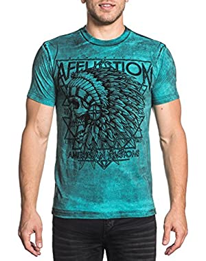 Men's American Customs Short Sleeve Graphic T-Shirt, Teal, Small