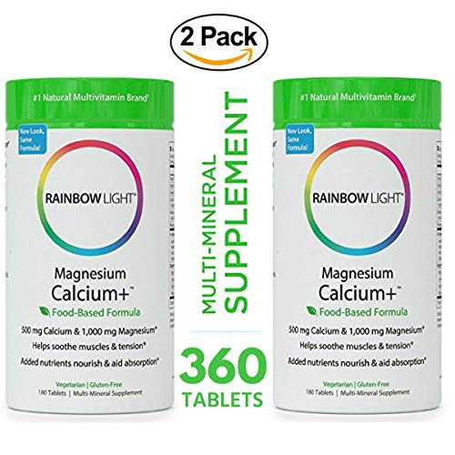 Rainbow Light - Magnesium & Calcium+ Supplement (2 Packs of 180 Tablets) - Promotes Healthy Bones and Teeth, Support for Muscle Aches and Cramps, Protects and AIDS Absorption & Digestion (Bio Vegetarian 180 Tabs)