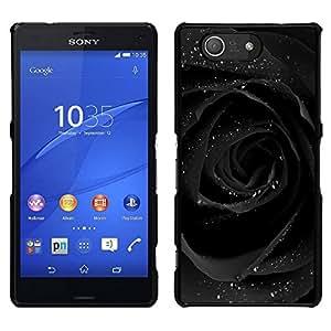 EJOY---Cubierta de la caja de protección para la piel dura ** Sony Xperia Z3 Compact ** --Agua de Rosas romántico oscuro