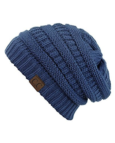 (C.C Women's Thick Slouchy Knit Beanie Cap Hat One Size Mineral Blue )