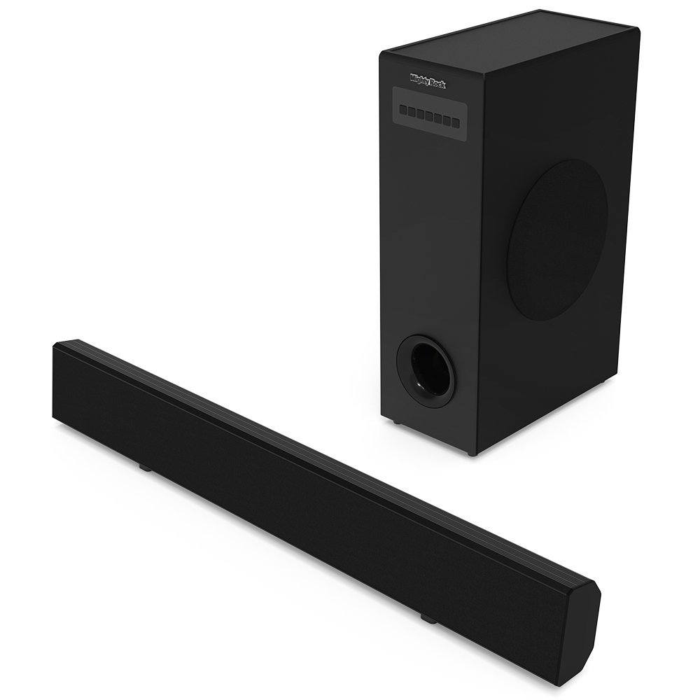 Soundbar with Subwoofer, Mighty Rock 36-inch 2.1 Channel 70 Watt Sound Bar Wired Subwoofer Home Theater System Sound Bars for TV with Strong Bass Included Optical Cable/Remote Control/Wall Mountable