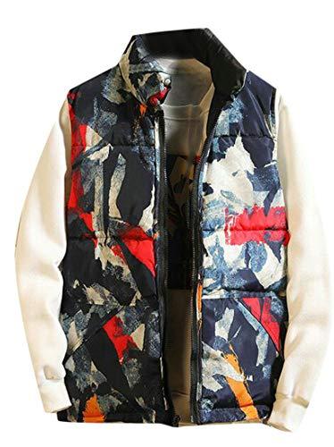 (Etecredpow Men Classic Stand Collar Cargo Zip Reversible Jacket Down Vest Blue S)