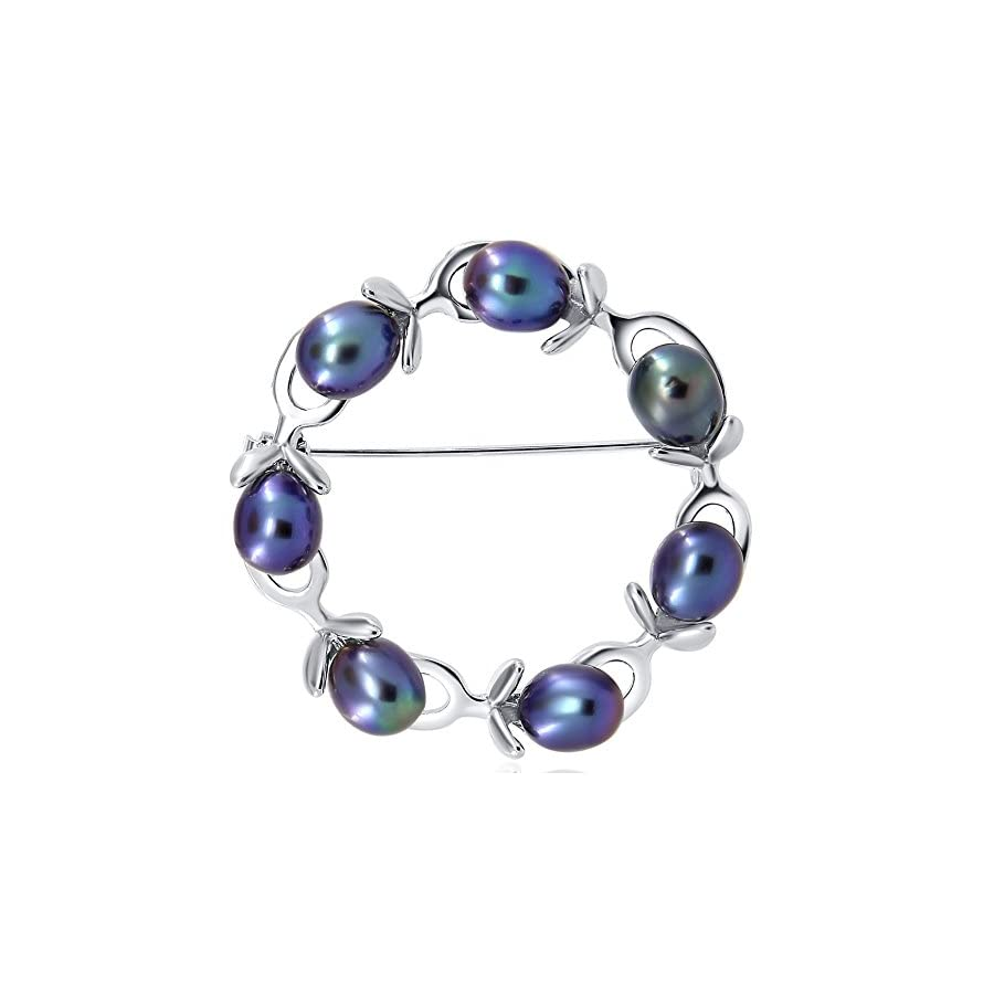 Olive Branches Freshwater Cultured Pearl brooch Black (rhodium plated base metal setting)