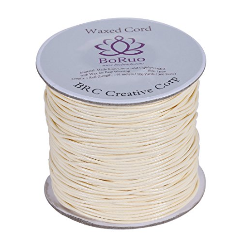 Boruo Brand 1mm Waxed Cotton Cord Beading Cord Waxed String Wax Cording Cord for Jewelry Making and Macrame Supplies 100 Yards Roll Spool Cream Color with Acrylic Jar