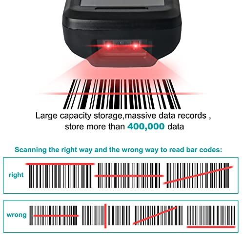 Sumicor Inventrory Barcode Scanner Wireless 1D Barcode Reader Handheld Data Collector Warehouse Scanner with TFT Colors LCD Screen for Store Logistics Retail