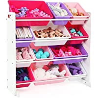 Kids Toy-Storage Box Alternative Sturdy Wood Organizer with 12 Removable Plastic Bins in Pink & Purple