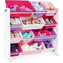 Kids Toy-Storage Box Alternative Sturdy Wood Organizer with 12 Removable Plastic Bins in Pink & Purple