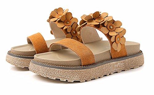 Toe Open Sandal Platform Slipper Flat Beach Flower Wedge Chic WUIWUIYU Rome Women's Summer Brown Slipper xqwU0nCY