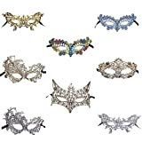 #8: Sexy Lace Masquerade Masks for Women Venetian Style Eye Mask for Costume Ball Halloween Party (Multicolor,Set of 8)
