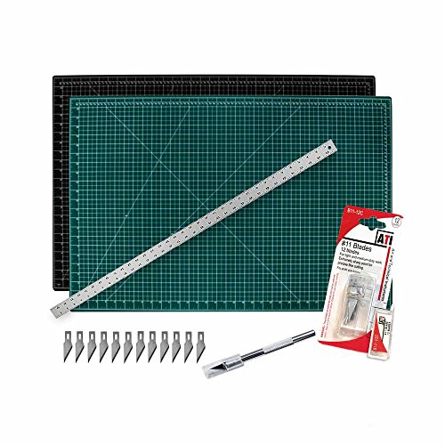"""Cutting Mat with Craft Knife & Ruler Set - Professional 36X24 Self Healing Double Sided Rotary Mat Precision Hobby Knife with 12 Easy Replacement Blades and 36"""" Steel Corked Backed Ruler (24 Matt)"""