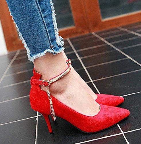 Aisun Womens Trendy Puntige Teen Jurk Gesp Stiletto Hoge Hakken Pumps Schoenen Met Enkelbandjes Rood 2