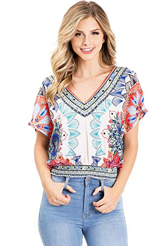 Flying Tomato Women's Boho Blouse Chiffon Crop Blouse (M, Ivory) (Flying Tomato Blouse)