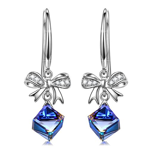 J.NINA Hypoallergenic Drop Earrings with Sapphire Swarovski Crystals Magic of Love Dangle Earrings Bowtie Pierced Earring Jewelry Gifts for Wife Mom Girlfriend Lover Daughter Sisters on Mothers Day Ch (Bow The Earrings Crystal)
