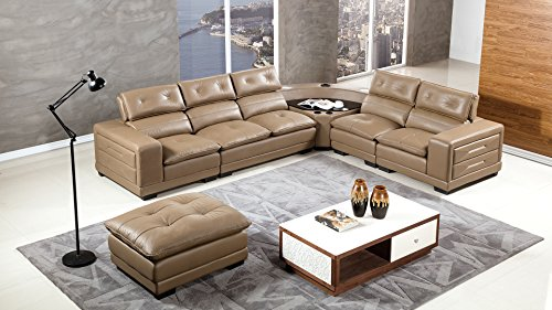 American Eagle Furniture EK-L121M-TPE.V2 Louisiana Modern Italian Leather Living Room Sectional Set, 6 Piece, Taupe