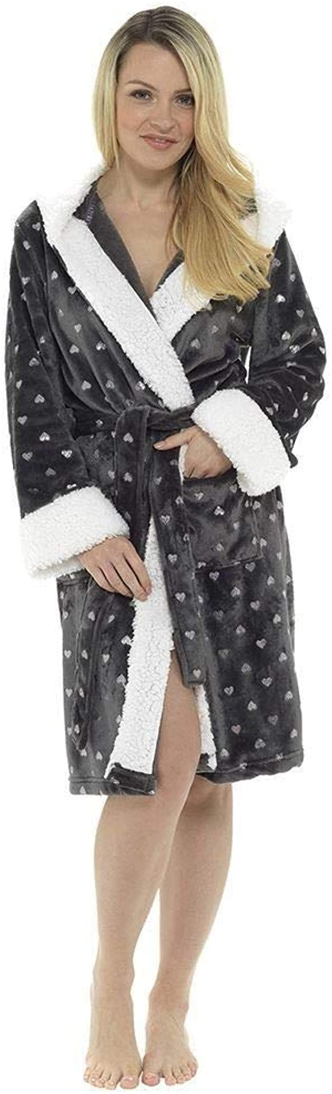 Ladies Super Soft Printed Robe Wrap Hooded Fleece Cosy Warm Dressing Gown