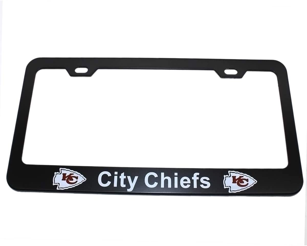 Wall Stickz AutoParts 2pcs License Plate Frames with NFL Emblem Stainless Steel Frame Fit US Standard Cars License Plate San Francisco 49ers