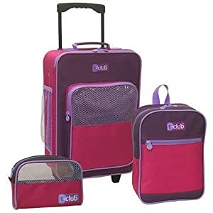 """3-piece Kids Luggage Sets Pink for Girls Pink and Purple Carry-on Suitcase for Girls with Wheels (16""""), Purple and Pink Backpack for Girls (12""""), and Pink Travel Bag (8"""") - PINK"""