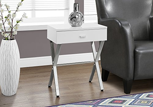 Monarch Specialties I 3262 Chrome Metal Night Stand Accent Table, 22.00 x 12.00 x 18.00, Glossy White