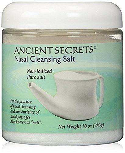 Nasal Pot Saline (Nasal Cleansing Salt Jar Ancient Secrets 10 oz Salt)