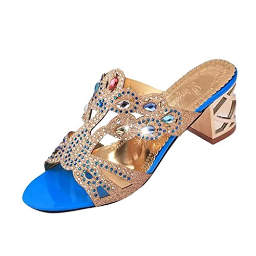 WOCACHI Vanlentine Day Women Shoes Summer Fashion Girl Big Rhinestone High Heel Sandals Ladies Beach Sandal Blue from WOCACHI Women Shoes