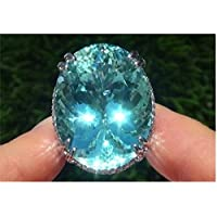 LALISA 925 Silver Oval Blue Prehnite Engagement Propose Ring Jewelry Mom Women Men Gift (9)