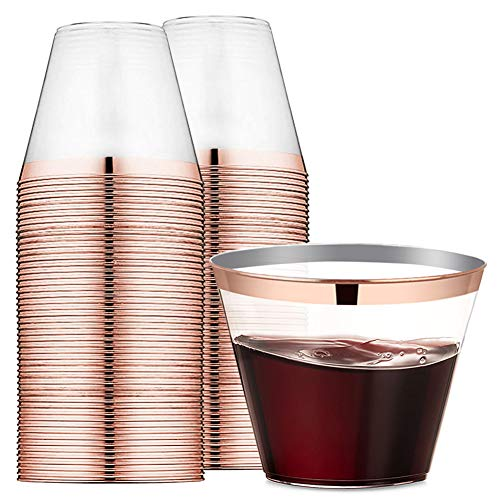 9 oz Rose Gold Rimmed Plastic Cups Clear Plastic Tumblers - Disposable Hard Party Wedding Plastic Cups 60 Pack-WDF (Cups)