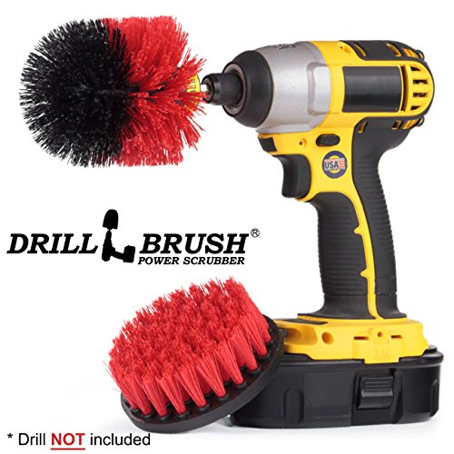 Stiff Bristle Scrub Brush Drill Attachment for Heavy Duty Outdoor Cleaning by Drillbrush - Great for Brick Cleaning, Siding Scrubbing, and Garage Care