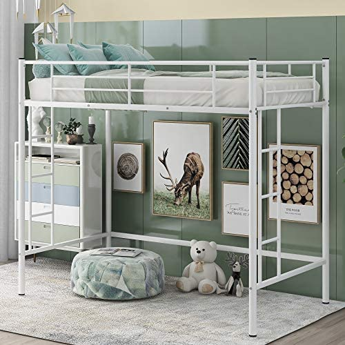 Twin Metal Loft Bed Multifunctional Modern Loft Bed Frame