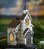 Miniature Fairy Garden Solar Church, 10 L x 7.75 W x 15 H