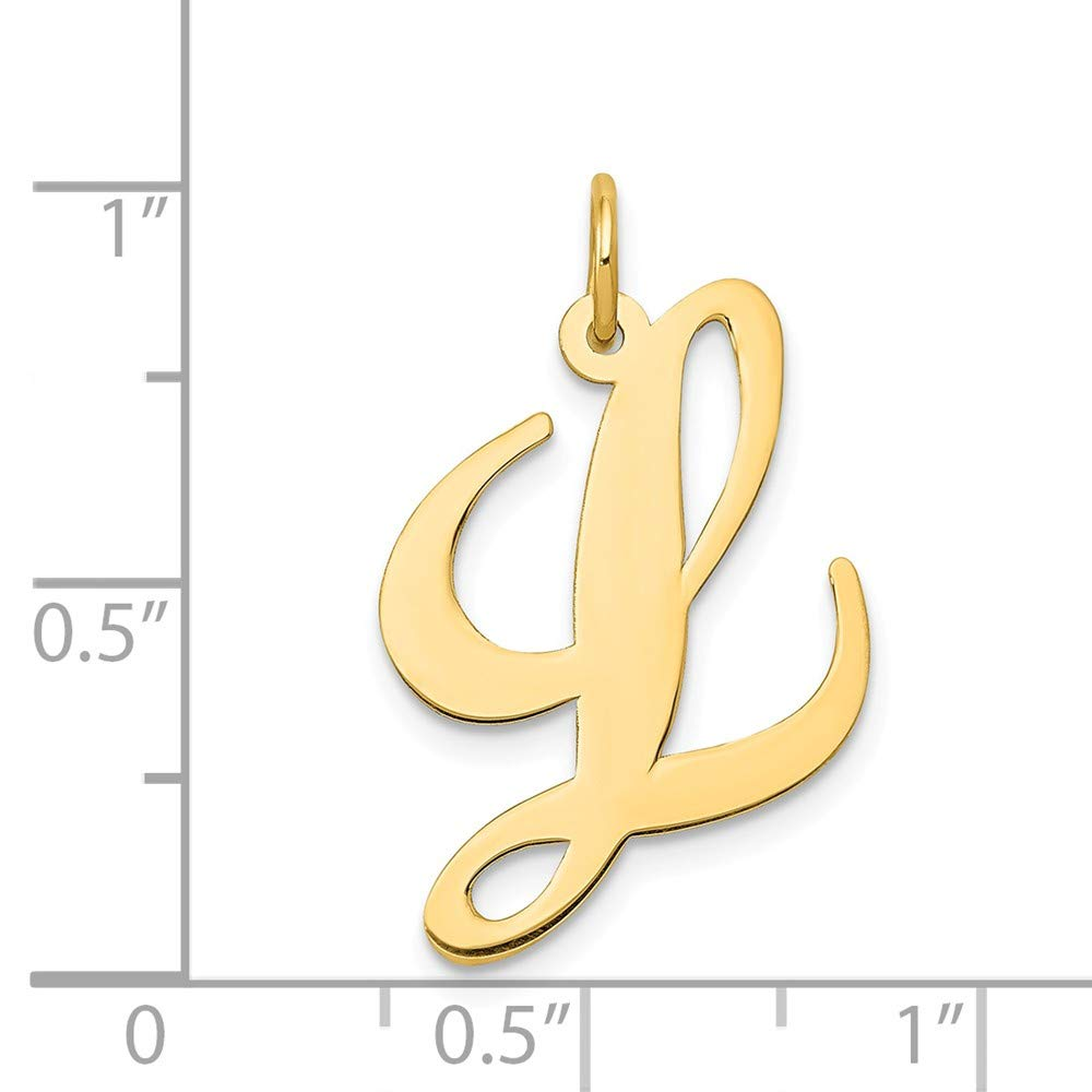 14k Yellow Gold Solid Polished Large Fancy Script Initial L Charm - Measures 21.1x20mm by JewelryWeb (Image #2)