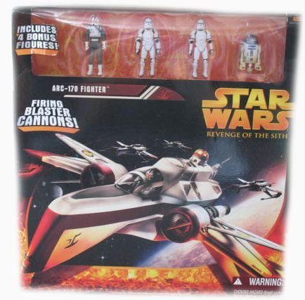 Star Wars Arc-170 Fighter Revenge of Sith with Firing Blaster Cannons and 4 Bonus Figures. Rare and Hard to Find. ()