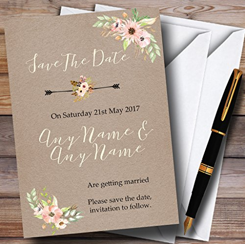 Rustic Vintage Watercolour Peach Floral Personalized Wedding Save The Date Cards