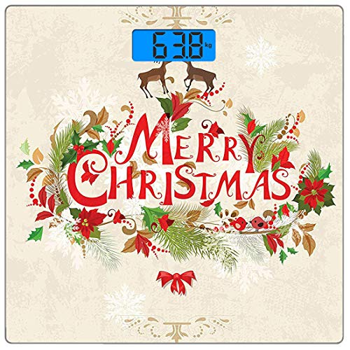 - Precision Digital Body Weight Scale Merry Christmas Reindeer Poinsettias Holiday Design Wall Ultra Slim Tempered Glass Bathroom Scale Accurate Weight Measurements,Black and White